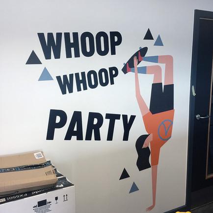 Whoop Whoop party wall vinyl