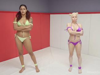 Un combattimento sexy tra donne lesbiche - Lesbo wrestling e ragazze fighe scopate