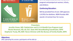 Webinar Opportunity: Introduction to the 5-2-1-0 Healthy Habits Maternal and Child Health Toolkit