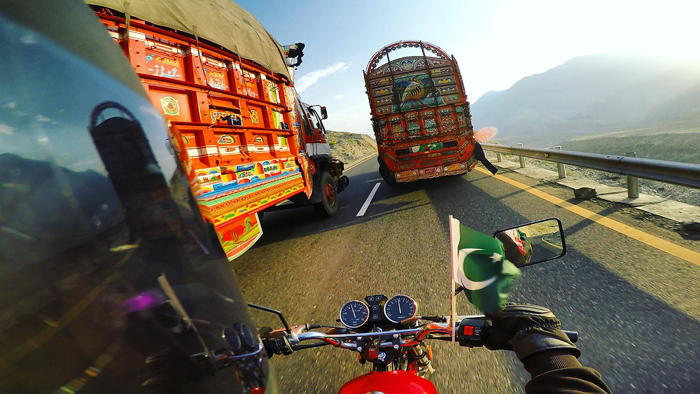 Trucks on the Karakoram Highway.