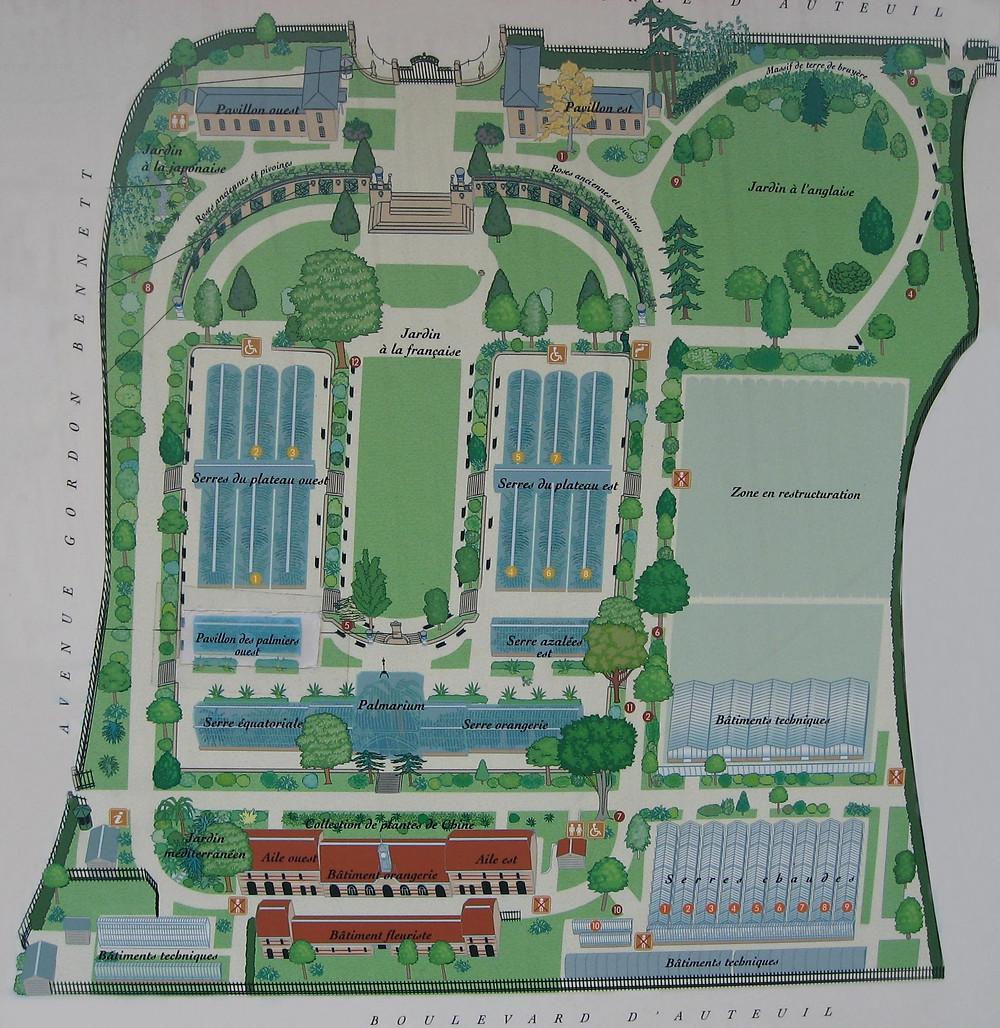 Plan du jardin des serres