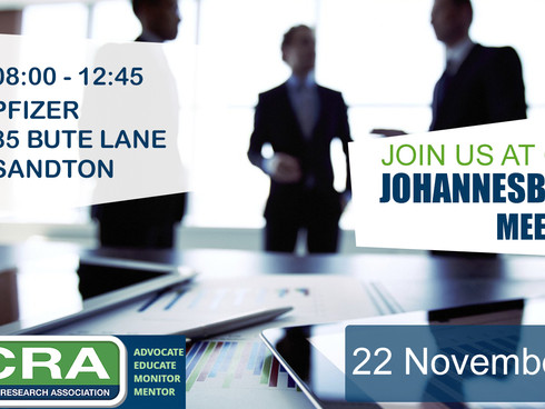 End of Year Johannesburg Meeting: 22 November at the Pfizer offices in Sandton