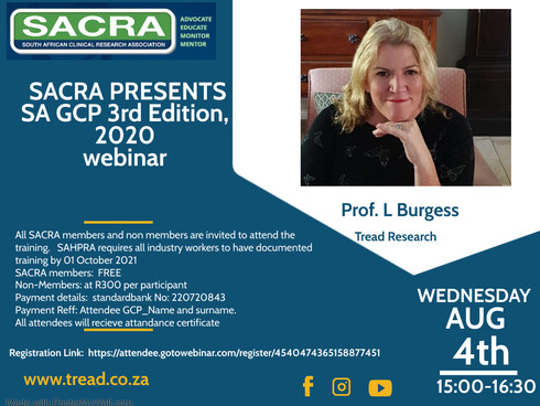 SACRA Presents:                       The updated SA - GCP 3rd Edition   Training Webinar