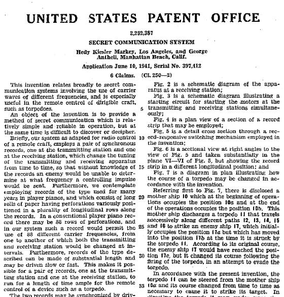 Il brevetto n. 2.292.387 che attesta la paternità dell'invenzione informatica di Hedy Lamarr e George Antheil