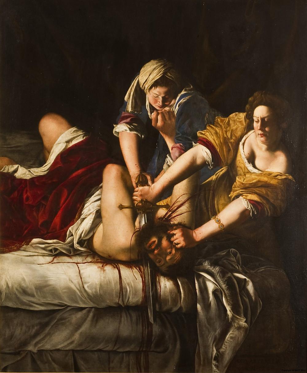 In «Giuditta e Oloferne» di Artemisia Gentileschi si mostra chiara la tematica della lotta con l'uomo cara aall'autrice, che nel corso della sua vita subì una violenza carnale e attraversò per questo anche un umiliante e doloroso processo.