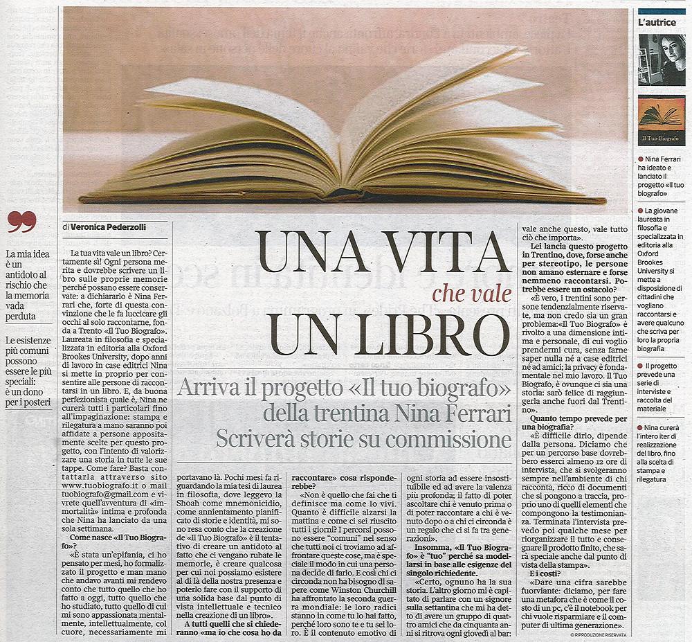 Nina Ferrari - Il Tuo Biografo - intervista - Corriere