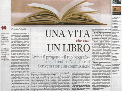 Nina Ferrari - ovvero Il Tuo Biografo - intervistata dal Corriere del Trentino