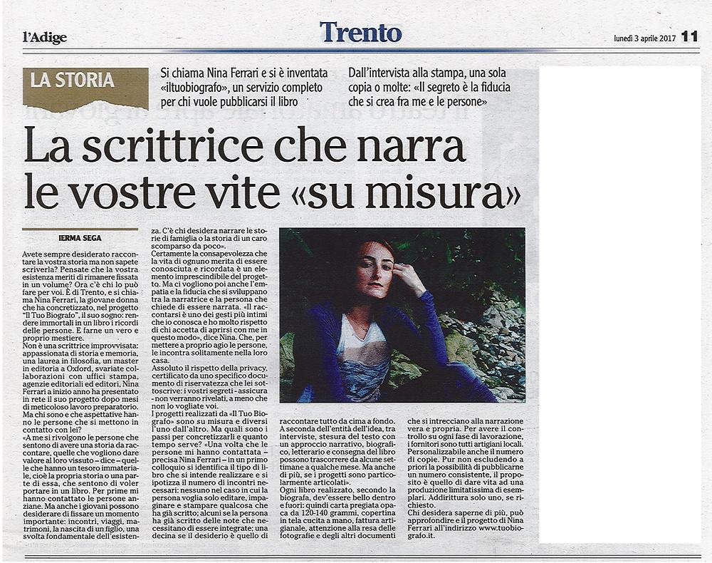 Nina Ferrari - biografo - Il Tuo Biografo - intervista - Trento