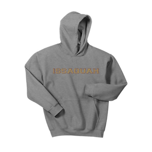 PERSONALIZED Youth Cotton blend Hooded sweatshirt w/ gold Issaquah logo