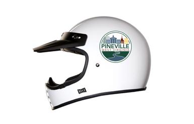 Pineville Sticker on ATV Helmet