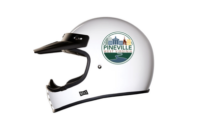 Pineville Sticker on ATV Helmet