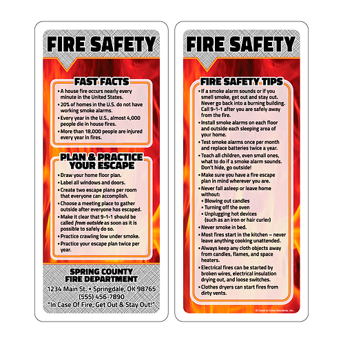Fire Safety Rack Cards