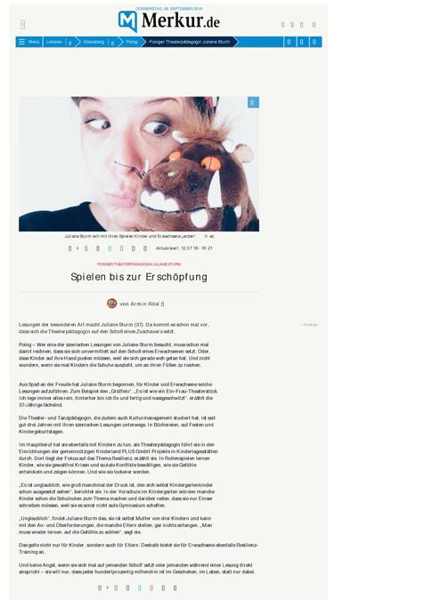 """Münchner Merkur """"Juliane Sturm"""" 07/18"""