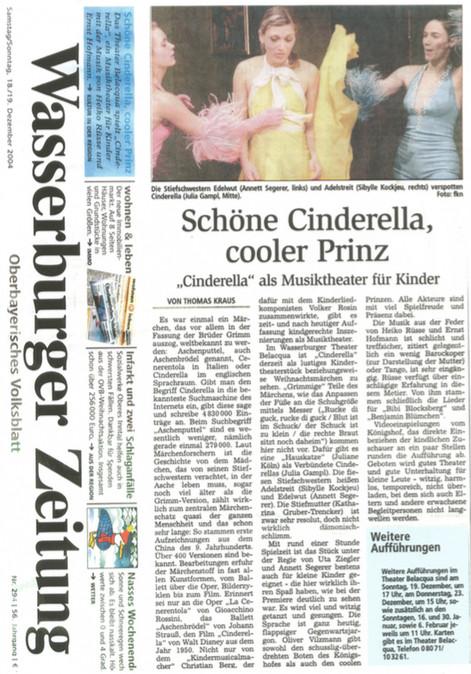 """Wasserburger Zeitung """"Cinderella"""" 12/04"""