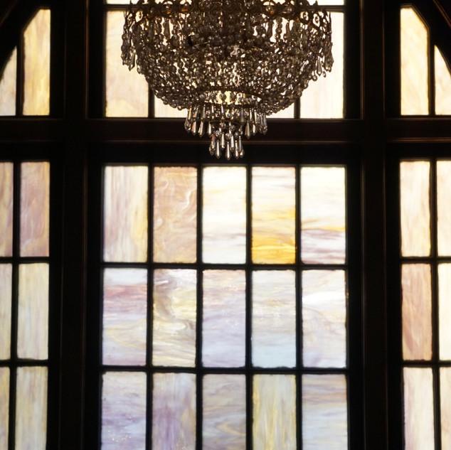 Stained Glass Window & Chandelier in Lof