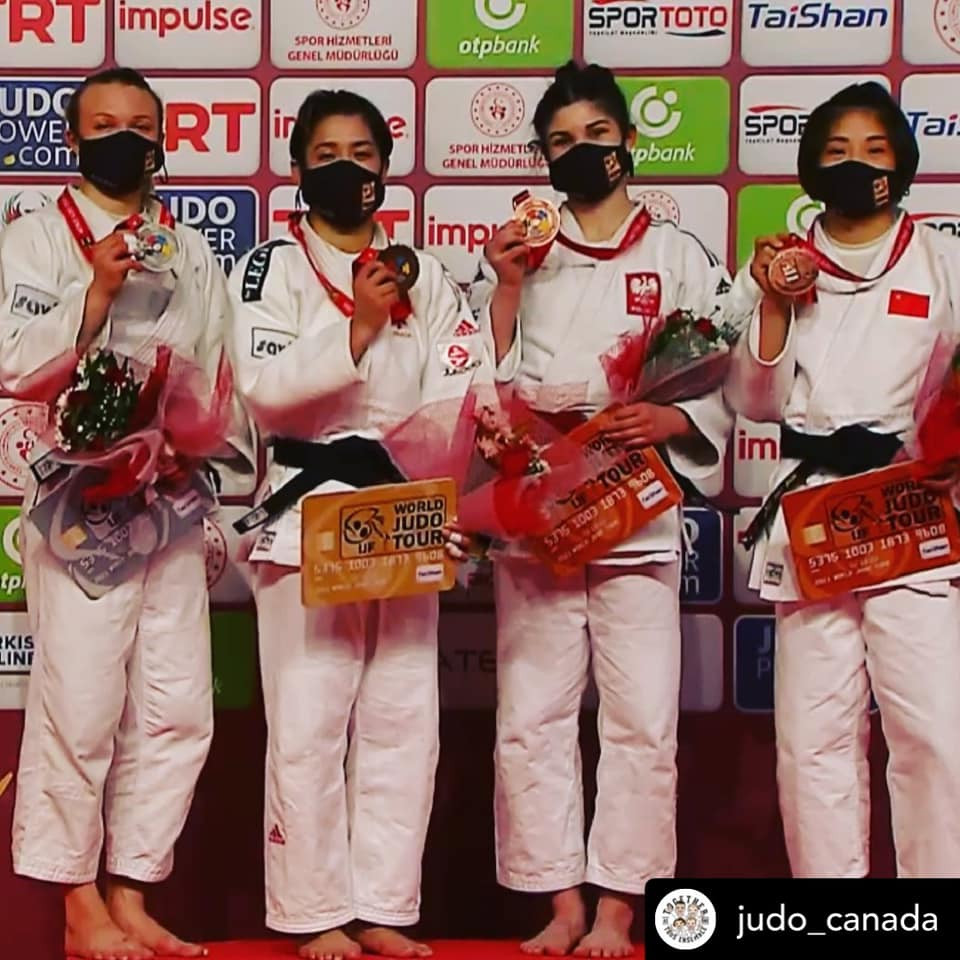 Jessica Klimkat with silver medal and other medalists at Antalya Grand Slam