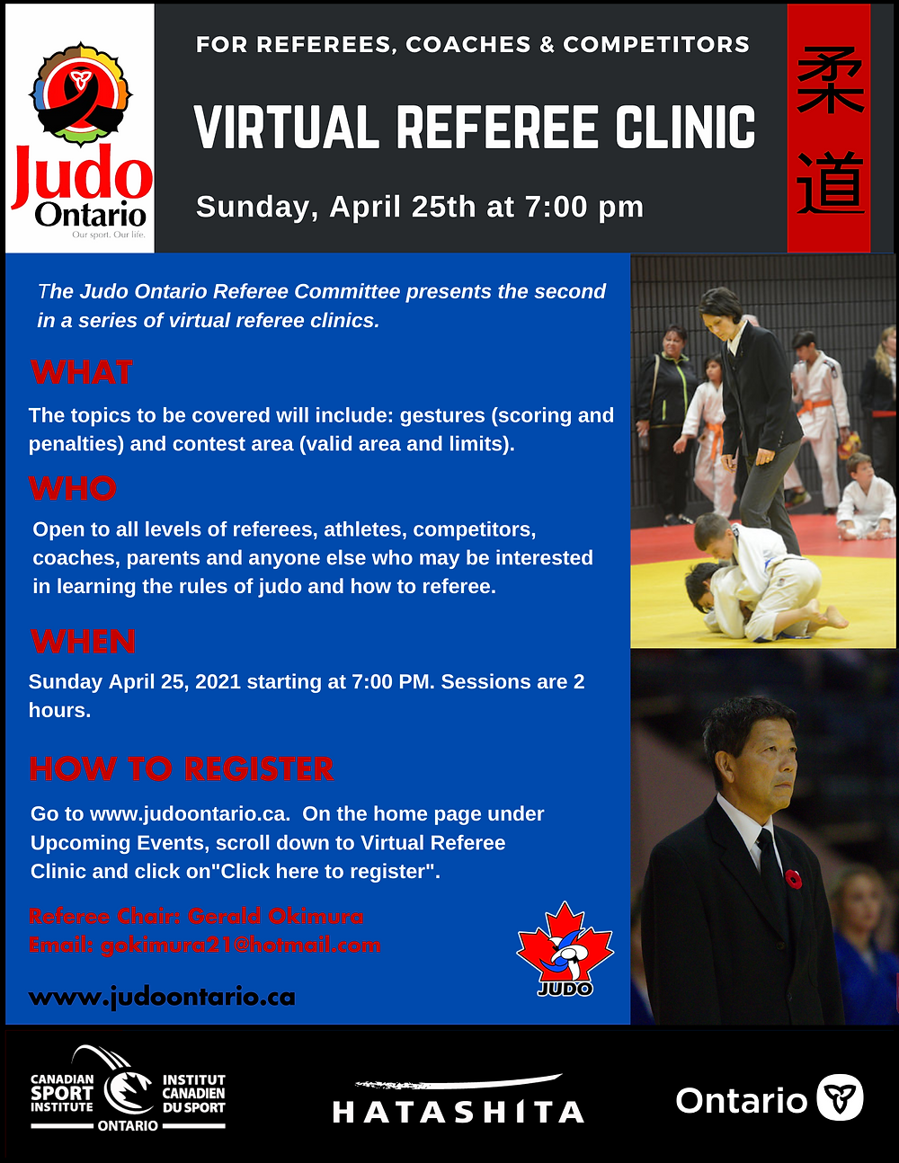 virtual referee clinic flyer - all text provided on page