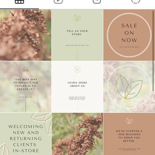 Instagram Template | Account Branding Package | Natural Template #1