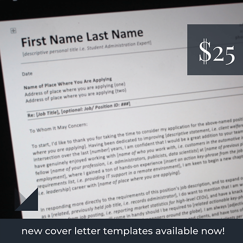 General Cover Letter Template #1 | Fillable Employment Cover Letter