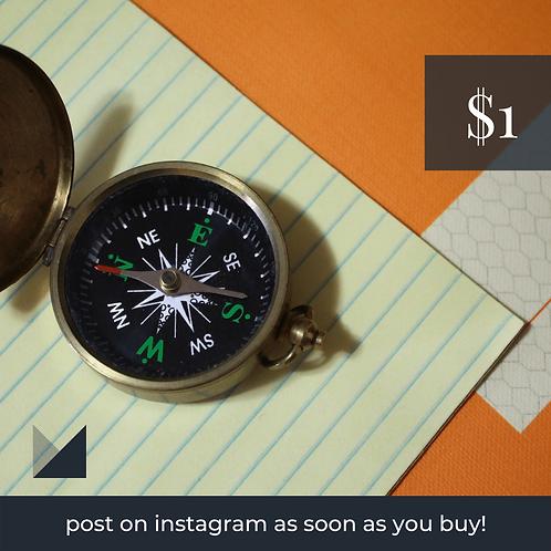 Digital Web Graphic | Compass on Orange Backdrop | Photography