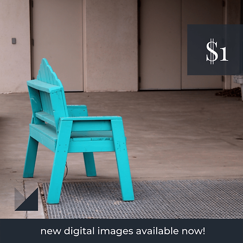 Digital Web Graphic | Turquoise Bench (grey backdrop) | Photography