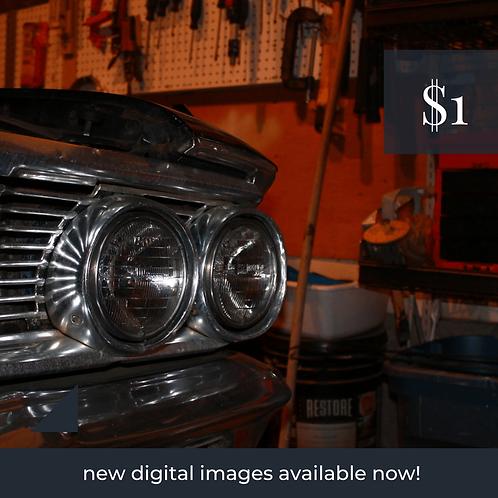 Digital Web Graphic | Car Headlights in Garage | Photography