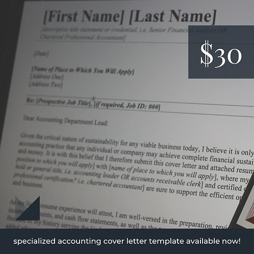 Accounting Cover Letter Template # 1 | Specialized Fillable Cover Letter