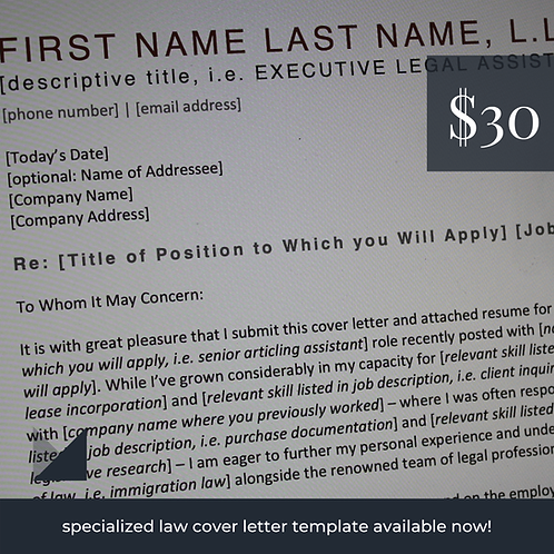 Law Cover Letter Template # 1 | Fillable Cover Letter Template