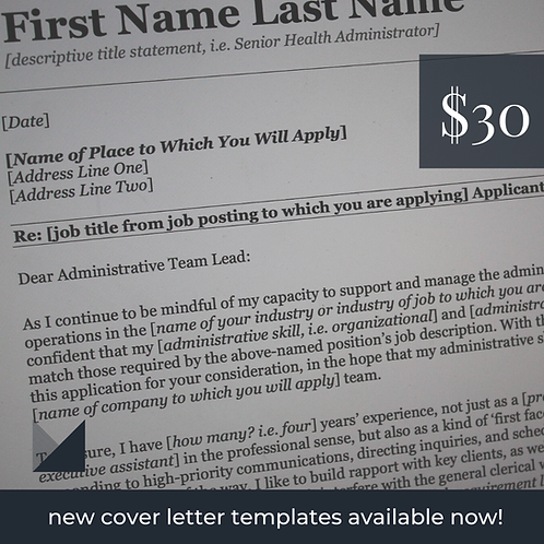 Administrative Cover Letter Template # 1   Fillable Cover Letter Template