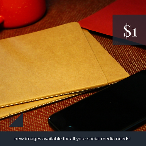 Digital Web Graphic | Notebooks, Coffee Cup, Phone on Red | Photography
