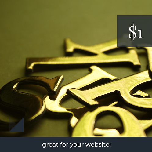 Digital Web Graphic | Golden Letters on Neutral Background | Photography