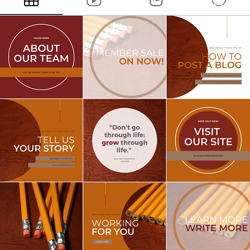 Instagram Template   Pre-made Branding Package   Red Pencil Template