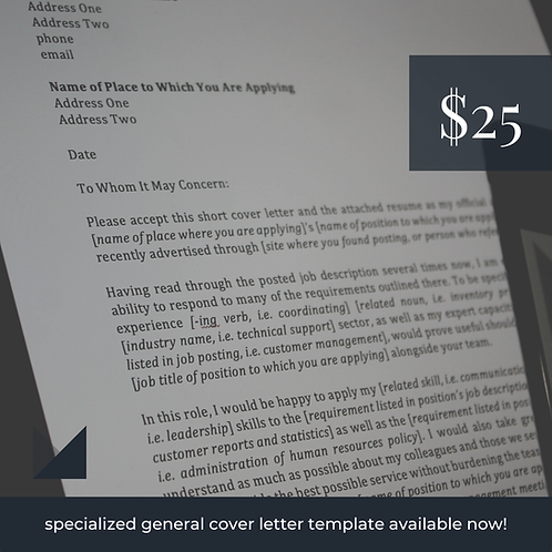 Entry-level Cover Letter Template # 1 | Fillable Employment Cover Letter