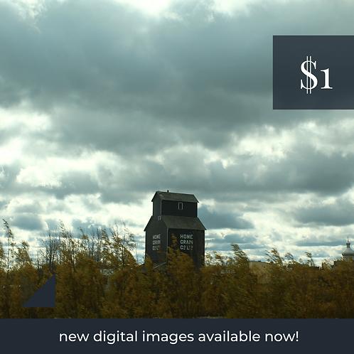 Digital Web Graphic | Prairie Scene and Granary | Photography