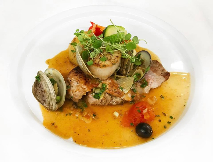 Pork with scallops