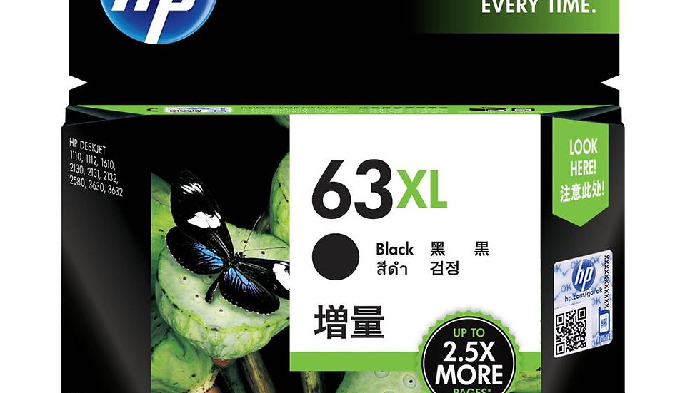 HP 63XL High Yield Black Original Ink Cartridge (F6U64AA)