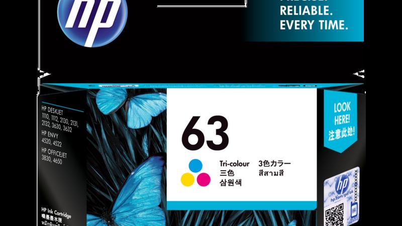 HP 63 Tri-color Original Ink Cartridge (F6U61AA)
