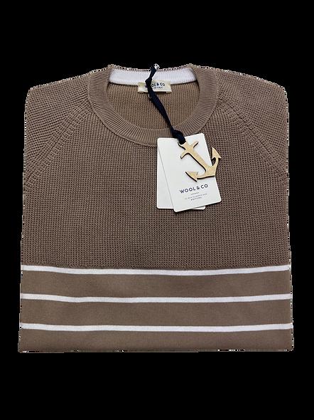 Wool & Co 6035/S Gestreepte Trui Korte Mouw Bruin