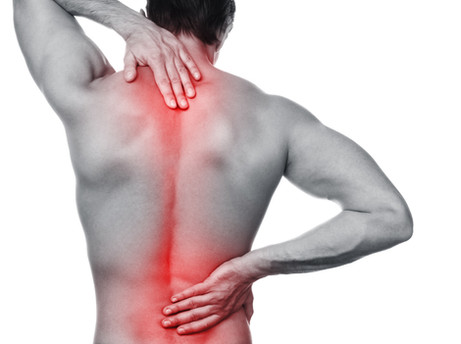Man with pain in his back over white bac