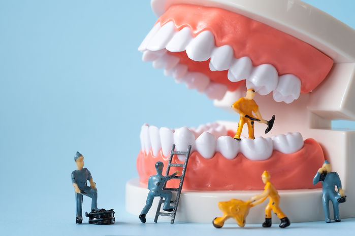 Miniature people of the teeth cleaning w