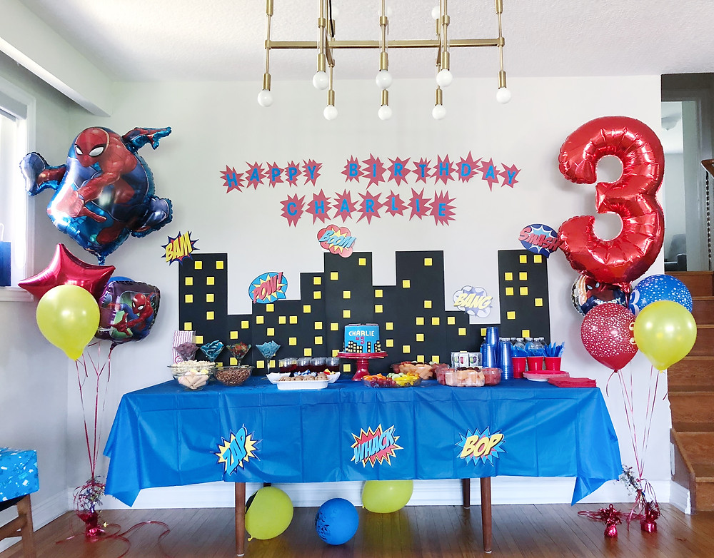 superman, spiderman, diy, decor, backdrop, superhero, balloons, birthday