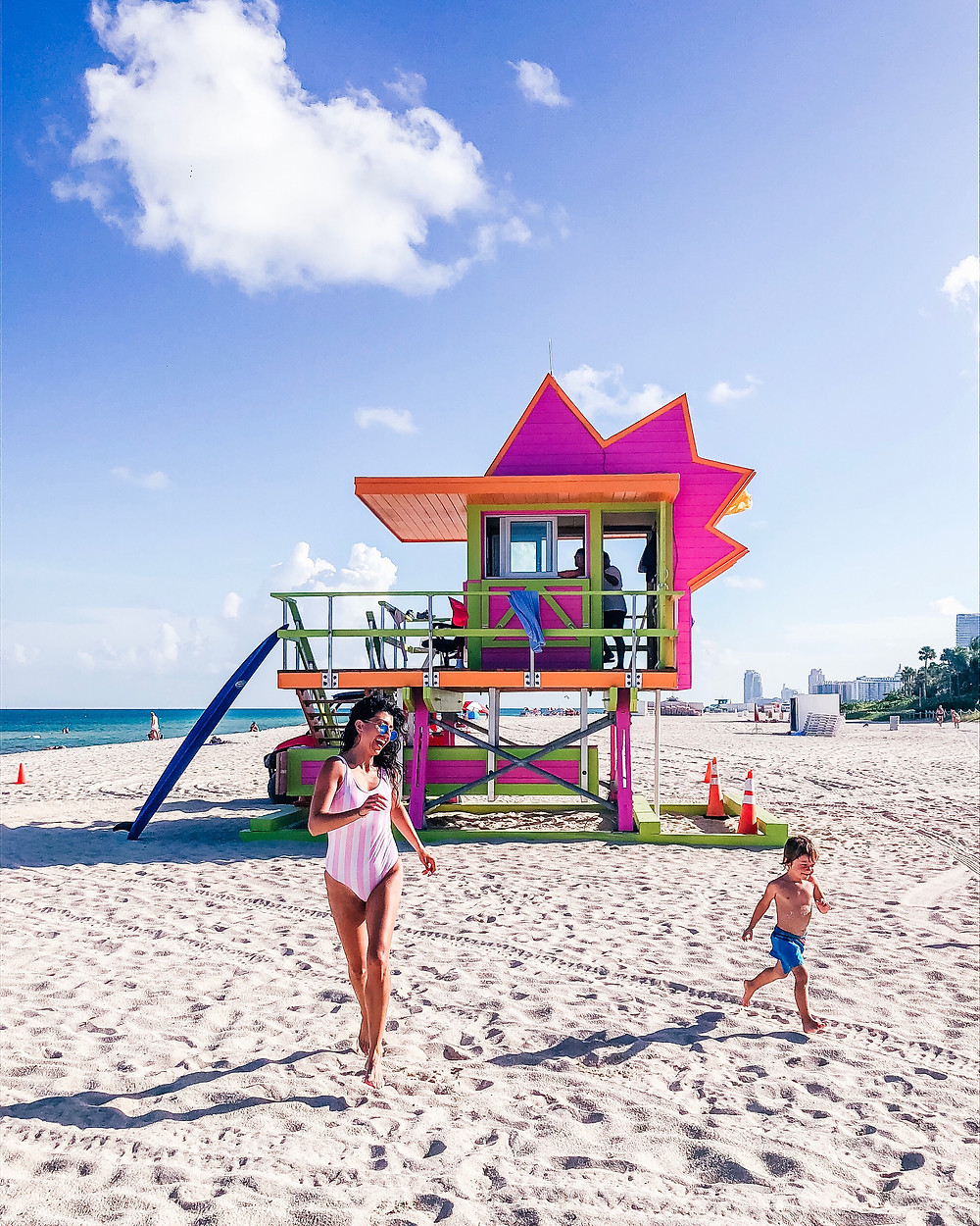 Miami Beach, Lifeguard tower in Miami Beach, Charlene Lizette and Charlie playing in Miami Beach, mommy and me photography, mommy and me running on the beach