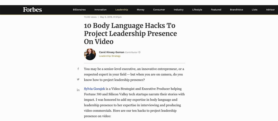 "Featured in Forbes: ""10 Body Language Hacks To Project Leadership Presence On Video"""