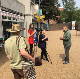 Participants from the creative arts project, talking to local TV, Norwich 2018