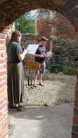 Musicans rehearsing for the St Walstan performance, This Earth We Tread. It was a glorious summer, which is always good for outdoor performances.
