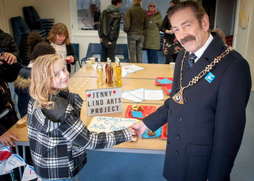During our launch of the Jenny Lind Arts Project, young participant and actor Daisy cut the cake with the then Chairman of Norfolk County Council, Councillor John Ward
