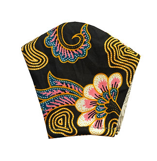 Black, yellow, pink, white 100% cotton African wax print face mask with floral pattern