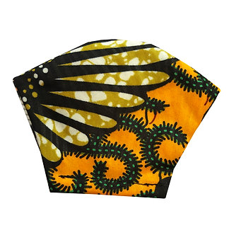 Yellow, brown, black 100% cotton African wax print face mask with feather inspired pattern