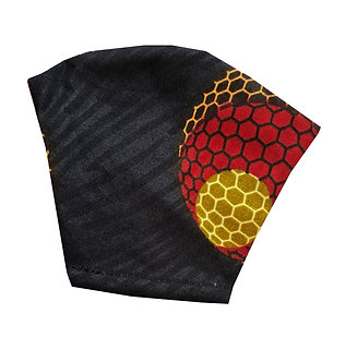 Black, red, brown, yellow 100% cotton African wax print face mask with cosmic pattern