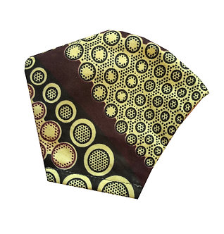 Beige, maroon, black 100% cotton African wax print face mask with dotted pattern
